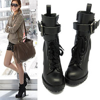 2013 Female Autumn and Winter High Thick Heel Lacing Zipper Wrap Ankle Cross Straps Buckle Martin Boots Platform Motorcycle Boot