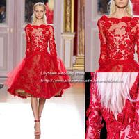 Best Dressed Custom Made Ellie Saab Bateau Long Sleeves Backless Lace Flower Applique Designer Celebrity Dresses Knee Length