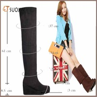Casual Soled Womens High Heel Boots, Over The Knee Boots For Women Scrub Upper Stretch Fabric Slim Boots