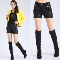 2013 female leather pants water wash PU shorts Fashionable Casual