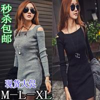 2013 autumn women's tight slim hip sexy strapless plus size one-piece dress female