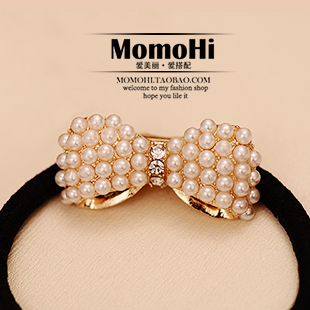 Korean hair accessories hair jewelry meatball head ! sweet all-match fashionpearl bow rubber hairwear free shipping(China (Mainland))
