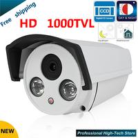 "Free shipping Newest CCTV camera 1000 TVL 1/3"" Sony 960H CCD High Resolution 2 IR LED Bullet Camera Surveillance security camera"