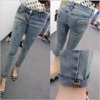 Free shipping New Arrival 2013 Fashion Mid waist Women Straight Jeans Slim Pencil Skinny Denim Pants. TB-39