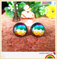Hot  Sale   (30 pair /lot) Stud earring wave multicolour the time gem stud earring earrings accessories earring 094