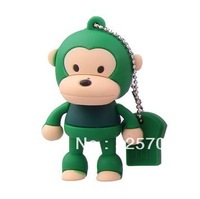 Free shipping, silicone cartoon novel green monkey 2gb, 4gb, 8gb, 16gb, 32gb flash drive usb 2.0/car/memory stick/key chain/gift