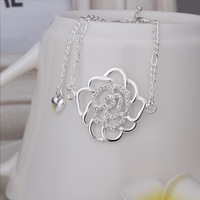 New Arrival!!Wholesale Sterling 925 Silver Anklets,925 Silver Fashion Jewelry,Inlaid Stone Flower Anklets SMTA027
