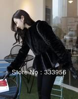 Free shipping 2013 elegant girl black thermal ruffle skirt short fur coat overcoat design
