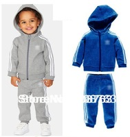 fleece inside warm 5 sets/lot children sporty suit children jacket hooded sweatshirt jumpers+ pant baby wear kids suit