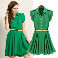 Free shipping European and American women's 2013 summer new short-sleeved lapel single-breasted tunic flounced chiffon dress 483