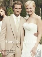 free shipping/Top selling/custom Groom wear Tuxedos/Best Wedding Groomsman Beige men's Suits/custom made cheap bridegroom dress