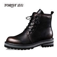 2013 winter martin boots genuine leather boots female flat heel round toe front strap thermal british style