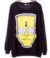 East Knitting XL-559 2013 New Autumn Winter Fashion Women pullovers Simpson head print sweatshirts black plus size hoodies