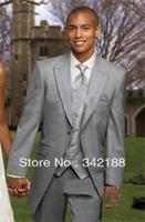 free shipping/Custom made Design bridegroom for tuxedo/wedding groom wear Slim Fit Man cheap Dress Light Grey Man groomsmen Suit