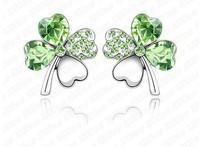 (Minimum order $10) 2014 new women fashion 001 crystal jewelry earrings ear Austrian  Lucky Clover