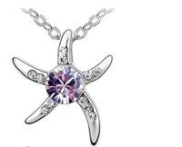 (Minimum order $10) 2014 new Popular Korean jewelry wholesale pendant crystal necklace OL wild - Starfish Love women fashion