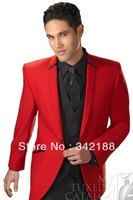 Free shipping/Best selling/custom made 2014 new style cheap red Groom Tuxedos/Wedding Groomsman wear dress/men's brdegroom suits