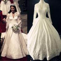 2015 princess kate style wedding dress Real Sample Luxurious Gorgeous Alencon Lace Trumpet Lace Train Bridal Gown wedding Dress