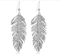 (Minimum order $10) 2014 new  Hot bohemian stylish elegant fashion women jewelry crystal earrings love wings