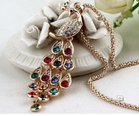 (Minimum order $ 10) Peacock paragraph long sweater chain necklace Korean fashion jewelry crystal noble national wind