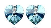 (Minimum order $10) 2014 new  women fashion jewelry Colorful Austrian Crystal Heart  Crystal Stud Earrings love