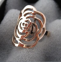 Free Shipping 18K Gold Plated Plated Cutout Rose Ring For Women JP31201 17mm