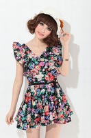 New Women Vintage Waist Ruffled prints Floral Tunic Sleeveless V-Neck dress  dress retro dress back open