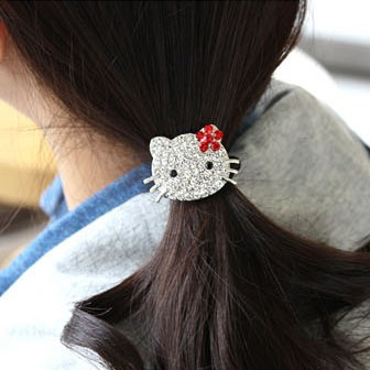 Sunshine jewelry store fashion rhinestone studded hello kitty hair rope hair accessory F129 ( min order $10 mixed order )