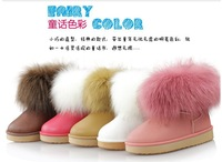 free shipping Waterproof shoes fox fur snow boots female boots child children boots children parent-child cotton-padded shoes