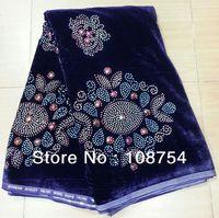 Korea velvet lace, lace fabric,nice stone, hot design, rapa material.fast delivery, V140 purple
