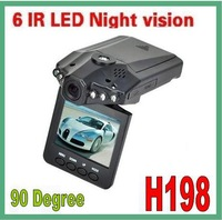 100 pieces no profit 640*480 H198 car DVR with 2.5 TFT LCD SCREEN 6 LEDS Fedex Free shipping!