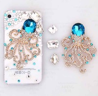 Free Shipping Bulk Luxurious 3D Octopus Diamond Case Luxury Crystal Bling Back Cover for iphone 4 4G 4s with Retail Package