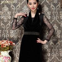 Bomovo 2013 lace rhinestones slim waist one-piece dress fashion halter-neck women's o-neck short skirt