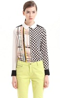 102056 Euro Fashion Style turn down collar long sleeve chiffon blouse elegant geometry and striped Patchwork blouse free ship