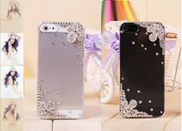 Free Shipping Bulk Five Flowers Luxury Rhinestone Diamond Design Hard Promotion Cover Crystal Bling Case for iphone 5