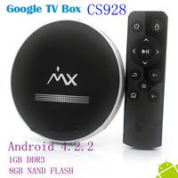 New arrival CS928 Android4.2d TV Box Smart TV Stick  AML8726-MX 1GB RAM 8GB ROM HDMI AV XBMC set to box  Free shipping