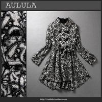 Fashion women's fluid print stand collar medium-long outerwear trench