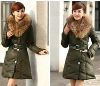 Plus Size Winter Big Mink Fur Collar Down Coat Women's Slim Long Duck Down Outerwear Casual Warm Padded Parkas With Belt