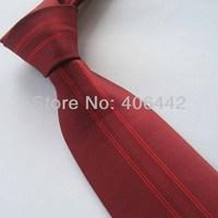 Yibei Coachella Mens Ties Burgundy With Red Stripe Jacquard Woven Necktie Fashion Gravata Formal Neck tie For Men dress Party