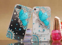 Free Shipping Bulk Luxury Rhinestone Bling Crystal Diamond Pearl 3D Elegant Butterfly Hard Case Cover for iphone4G/4S