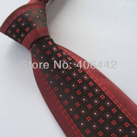 Yibei Coachella Ties Red Border Black With Red/Silver Spots Jacquard Woven Necktie Gravata Formal Neck tie For Men dress Party