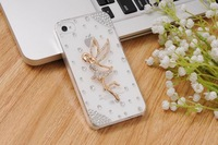 Free Shipping  Fashion Luxury Crystal Bling Design 3D  Angel Girls Diamond Cover for iphone4 4s accessory