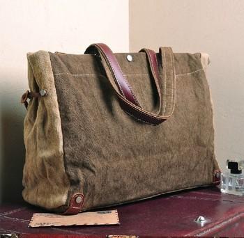 Men/Women's Vintage Canvas Leather tote bag handbag briefcase 522