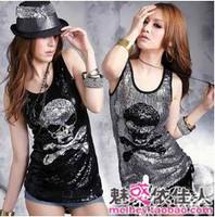 FREE SHIPPING ! New arrival nobody paillette vest ds paillette hip-hop jazz dance costumes skull paillette small vest