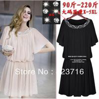 Crazy Shopping High-grade Women's Fashion Plus Size Chiffon One-piece Dress Clothing Size L-5XL