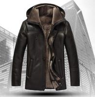100% Genuine Leather & Suede Luxurious Man Hooded Coat Jackets Mens Winter Leather Sleeve Plus size XXXL XXXXL Jacket new 2013