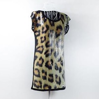 2013 women's full paillette leopard print temptation print plus size o-neck loose long design t-shirt