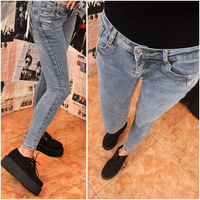 High-elastic water wash wearing white saturn vivi bag pencil basic jeans