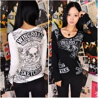 Fashion punk gothic skull embroidery vintage oldschool long-sleeve T-shirt basic