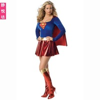 Hot Sell Fashion Sexy Superhero Cosplay Halloween X'mas Costume For Women,Batman Superwoman fancy dress costume